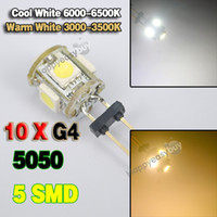 Wholesale 10 G4 LED Light SMD5 Pure Warm White V Cabinet RV Boat light Bulb Lamp DC