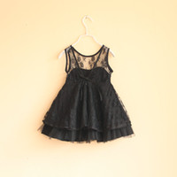 black lace - 2013 spring Backless Dress kids princess black dresses years Kids TUTU Lace Jumper Skirt Party
