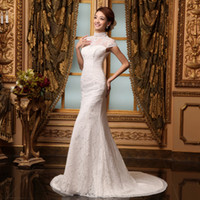 Wholesale Mermaid High Neck Lace Sexy Wedding Dresses Beads Free Veil Free Glove buy get