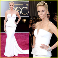 Wholesale Theron th Oscar Annual Academy Awards Red Carpet Pagent Dresses White Strapless Sheath