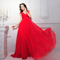 Wholesale 2013 SexyA Line Chiffon Lace V Neck Evening Wedding Dresses buy Dress Get Earrings And Necklace