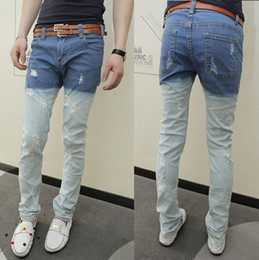 Wholesale Free Ship New Mens Casual Slim fit Distressed Denim Jeans Trousers K211