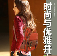 Wholesale New Fashion Back To School Fashion Girl s School Bag PU Leather Orange Designs Messenger Student Shoulder Backpack Bag