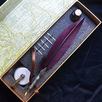 Wholesale Crimson Red Feather Dip Pen Suit With NIB Engraving Pattern Gift Box With Pen Holder