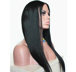 Wholesale Lace Front Wig brazilian Remy Human Virgin Hair Wig Natural Straight Middle Part For Black brown