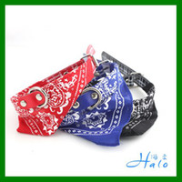 Halloween bandana dog harness - 10 quot quot Adjustable Red Blue Black PU Leather W Paisley Bandana Dog Collar