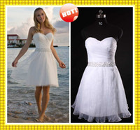 Wholesale 2013Simple A Line Sweetheart Knee Length Organza Short Beach Wedding Dresses Sexy Beaded Draped Gown