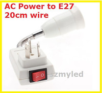 Wholesale AC Power to E27 cm LED Light Bulb Flexible Extend Adapter Socket with Switch