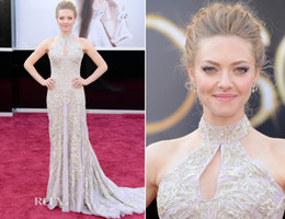 Wholesale Amanda Seyfried th Oscar Annual Academy Awards Red Carpet Pagent Dresses Halter Cutout Bust Train