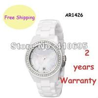 Casual super slim - New Ladies Super Slim White Ceramica Chronograph AR1426 Wristwatch