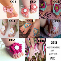 Wholesale Infant Crochet Shoes Baby First Walker Shoes Hand Knitted Shoe Flower Summer Woolen Yarn Sandals