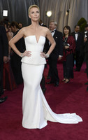 Wholesale Sheath White Strapless Sexy Theron The Oscars th Academy Awards Celebrity Dresses