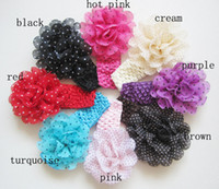 Headbands Cotton,lace Christmas Chiffon Flowers Girls Headbands Baby Hair Band Crochet Elastic Lace Kids HAir Accessory FD031-A