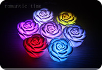 Wholesale 100ps Changing Color LED Floating Rose Flower Night Light Candle Lights