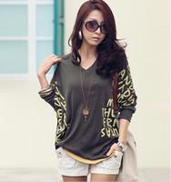 Wholesale Pluse Size Cotton woman shirt V neck design bat style fashion lady blouse Color option