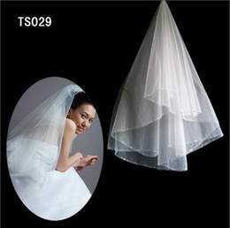 Real Sample In Stock 2 Layers White Ivory Pearls Ribbon Edge Veil For Wedding Dresses Bridal Gowns