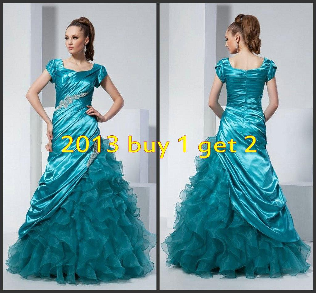 2016 Short Sleeves Modest Turquoise Organza Prom Dresses Free ...