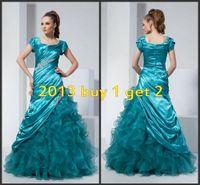 beaded bag buy - 2016 Short Sleeves Modest Turquoise Organza Prom Dresses Free Petticoat Free Bag buy get