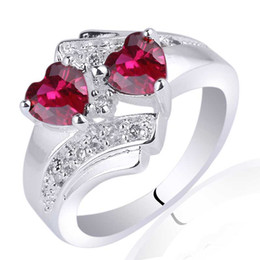 Lady Twin-heart 5mm Stone Red Ruby 925 Sterling Silver Ring NAL R014 Personalized Engrave