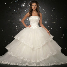 Wholesale 2013 Luxury Organza Big Skirt Bride Ball Gown Wedding Dresses buy Dress Get Gloves And Veil
