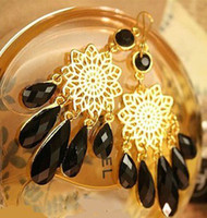 Wholesale 2013 Fashion Bohemia Back Crystal Earrings For Women Droplet Pendant Plated Gold Earring