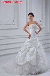Wholesale Grace Wedding Gowns Organza Strapless Lace Up Sequin Applique Beading Layered Ruffle Actural Picture