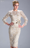 Wholesale 2013 Hot Elegent Jewel Lace With Bow Long Sleeves Knee Length Mother of the Bride Dress