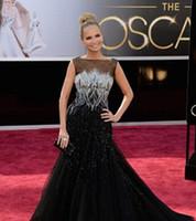 Black Celebrity Dresseses inspiré par Kristine Chenoweth 85e Oscar Annuel des Oscars Tapis Rouge Pagent Robes Bateau Tulle perlé