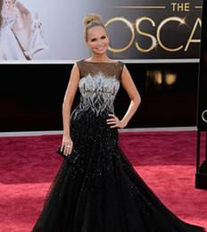 Black Celebrity Dresseses inspiré par Kristine Chenoweth 85e Oscar Annuel des Oscars Tapis Rouge Pagent Robes Bateau Tulle perlé à partir de robes de pagent perles fabricateur