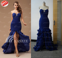 Wholesale 2013 High Slit Prom Dresses Sweetheart Mermaid Pleated Beads Sequins Layered Chiffon Evening Gowns