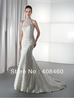Reference Images Halter Tulle Sheath Halter Lace Applique Beaded Zipper Back Sexy Back Bridal Wedding Dress Demetrios style:1450
