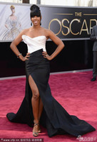 Reference Images kelly rowland dress - Vogue Kelly Rowland White And Black Oscar Dresses Long Sexy Celebrity Dresses Custom Made