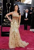 Wholesale Spaghetti Straps Catherine Zeta Jones Gold Sequins Mermaid Academy Awards Dresses at The th Oscar