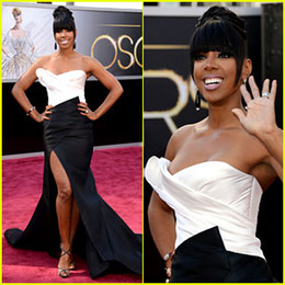 Wholesale Black White Satin Evening Oscar Celebrity Dresses By Kelly Rowland th Annual Academy Awards