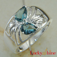 Wholesale Hot sales silver jewelry blue topaz gemstone ring jewelry LR0497