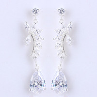 White Women's Gift Women Teardrop Stone White Topaz Piercing Dangle S925 Sterling Silver Earrings NAL E017