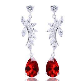 Women Teardrop Stone Red Garnet Piercing Dangle 925 Sterling Silver Earrings NAL E017