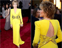 Reference Images academy award oscars - Jane Fonda th Annual Academy Oscar Awards Red Carpet Pageant Dresses Yellow Long Sleeves