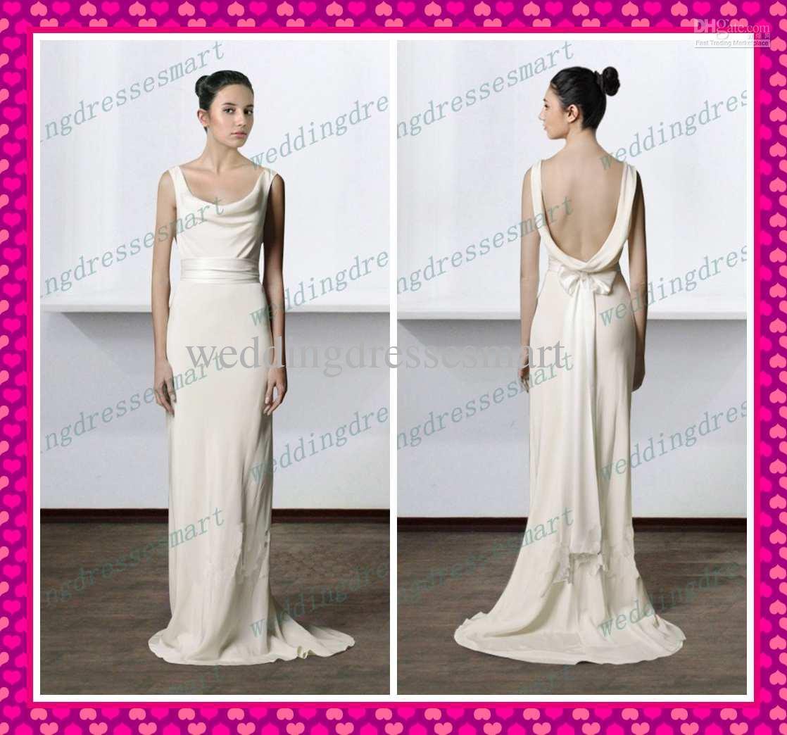Cheap 2013 stylish sheath scoop backless draped beach for Backless wedding guest dresses