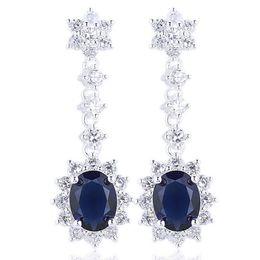 925 Sterling Silver Dangle Earrings for Women with Piercings Long Charm 7x9mm Oval Shape Cubic Zirconia CZ Christmas Gift E031