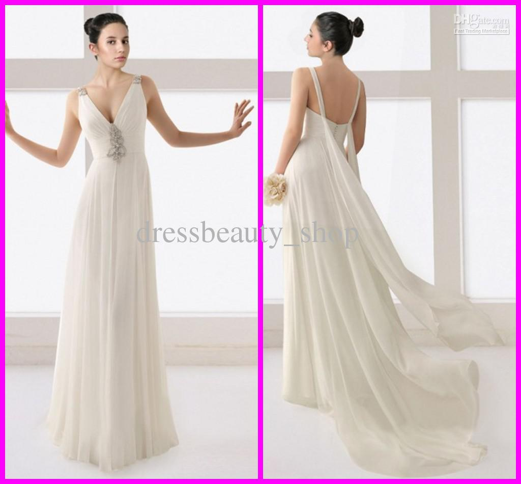 Chiffon Sexy Deep V Neck Sheath Wedding Dresses Silver Beading ...