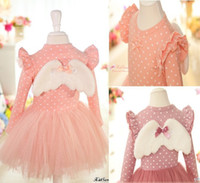 Wholesale Hot sale Girl Dress Girl clothes Girl angel wings yarn skirt Girl lace cotton dot bow dress