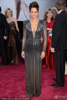 Reference Images berry prom dress - 2013 th Oscar Awards Halle Berry Floor Length Deep V Neck Shining Celebrity Prom Dresses