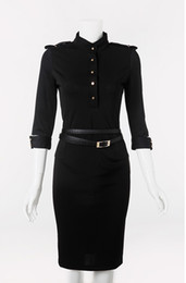 High Collar OL dress Retro Half-Sleeve VictoriaBeckham Temperament pencil dresses Slim Blue Dk3004