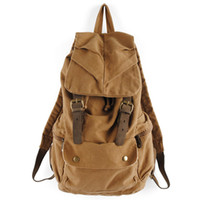 Men Plain PU Free shipping,2013 New cotton canvas backpack,straw string outdoor travel bag trimming with genuine