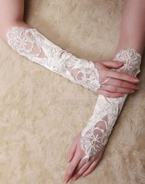 Wholesale In Stock quot White Ivory Wedding Party Fingerless Pearl Lace Satin Bridal Gloves G1