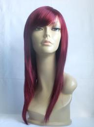 Wholesale HEAT RESISTANT MODERN SILHOUETTE LADY WIG BURGUNDY RED W8 jpg