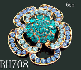 Wholesale Hot Sale Gold plated Women zinc alloy rhinestone flowers brooches rhinestone jewelry 12pcs lot mixed color BH708