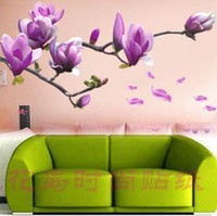 Wholesale Home Art Decor Wall Sticker Chaste magnolia purple Mural Wall Paper Sticker cm