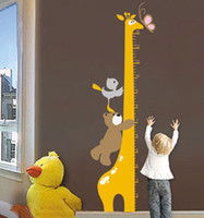 Wholesale Kids wall stickers Giraffe Kids Growth Chart Height Measure for kids rooms decoration home decor